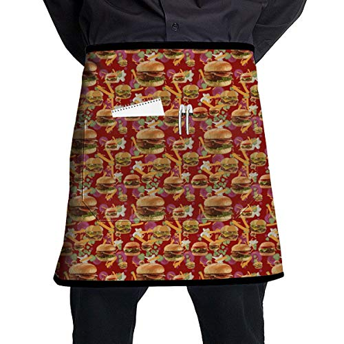 Men Women Bib Aprons Waiter Hostess Apron Water Resistant Liquid Drop Resistant for Restaurant, Salon, Chef Red Hamburgers French Fries Apron Extra Long Ties Machine Washable -