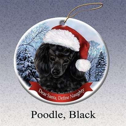 Holiday Pet Gifts Poodle (Black) Santa Hat Dog Porcelain Christmas Tree Ornament