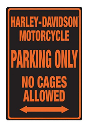 Harley-Davidson Embossed No Cages Packing Tin Sign, 12 x 18 inch 2010691 - Harley Parking Sign