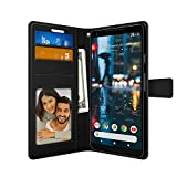 FOSO(™) High Quality PU Leather Magnetic Flip Cover Wallet Back Cover Case For Google Pixel 2 XL (PUL Leather Black)