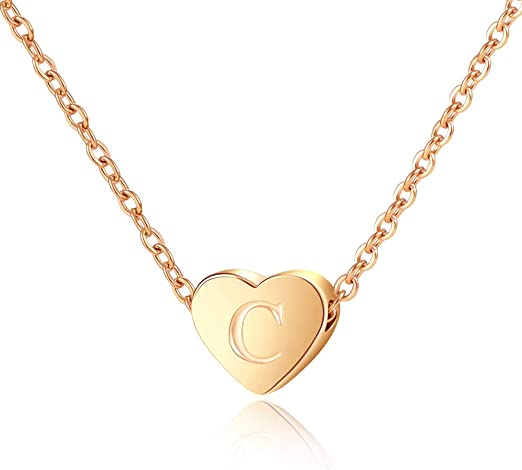 Amazon Com Lanqueen Letter C Necklace For Women Heart Pendant Necklaces Adjustable Chain Initial Alphabet Jewelry For Birthday Christmas Jewelry