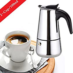 6-Cup Stovetop Espresso Maker Italian Moka Coffee Pot - Best Polished Stainless Steel Coffee Percolator with Permanent Filter and Heat Resistant Handle - Ideal to Brew Coffee in Your Home Kitchen and Office from WeHome