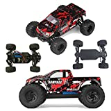 Fistone RC Car 2.4G 4WD Full Proportion 18 Mph High Speed Rampage Buggy Big Foot Electric Off Road Vehicle All Terrain Monster Truck Model RTR Hobby Car (Red)