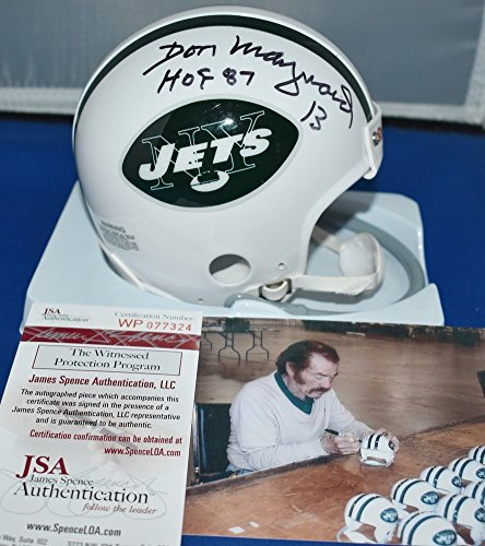 Maynard Autographed New York Jets - Don Maynard Signed One Bar Throwback Mini Helmet New York Jets Hof 87 - JSA Certified