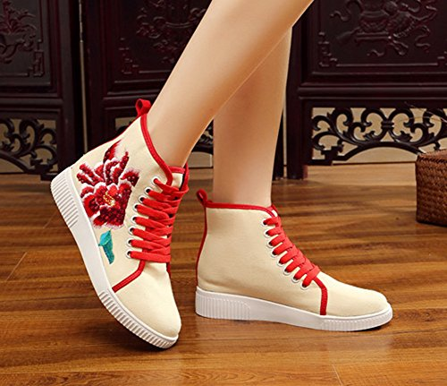Walking Flower AvaCostume Shoes Sneaker Hot Womens Red Drilling Flats Embroidery xqCHCPZwY
