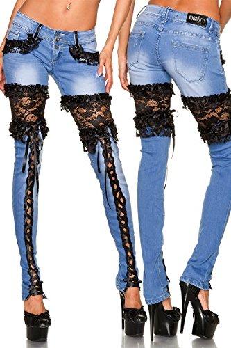 Jeans mit Spitze - blau/schwarz - 36