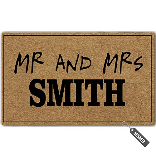 MsMr Personalized [Family Name] Door Mat Mr and Mrs Smith Indoor Outdoor Custom Doormat Decorative Home Office Welcome Mat 30