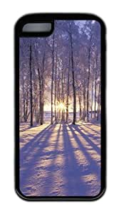 Customized Case landscapes nature snow trees 30 Black for Apple iPhone 5C