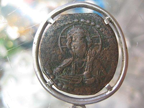Genuine Byzantine copper coin in sterling silver bezel, circa 1000 AD