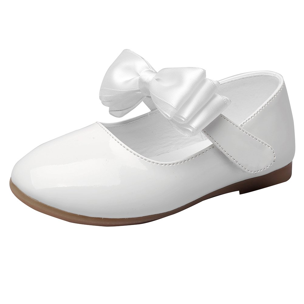 Maxu Solid PU Dress Bow Mary Jane for Girls,White,Little Kid,12M