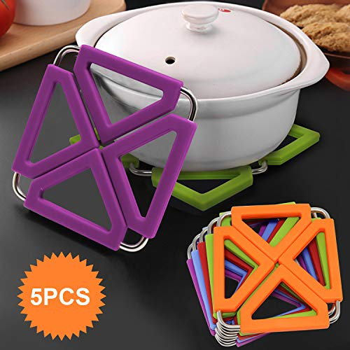 Set of 5 Silicone Trivet Mat Expandable Hot Pot Holder with Stainless Steel Frame for Home Kitchen Heat Resistant Insulated Hot Pads Coasters Table Dish Mat Tableware Placemat for Hot Pans Bowls ()