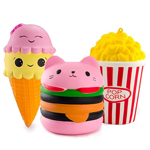 BeYumi Slow Rising Toy, Kawaii Hamburger, Popcorn, Ice Cream Squishy Cream Scented Decompression Squeeze Toys for Collection Gift, decorative props Large or Stress Relief