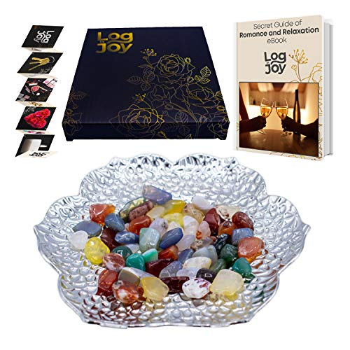 Log in Joy Decorative Tray | 6 inches | Most Craved Home Decoration. Dish/Bowl for Coffee Table + Agate Stones + Gift Box