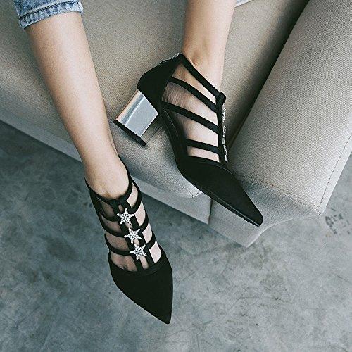 SFSYDDY nuevas estrellas puntiagudas de diamante después de rugoso con cremallera de satén zapatos bajos mujer zapatos Merchandiser negro