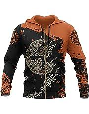 3D-Tryck Viking Fenrir Wolf Tattoo Mäns Hoodie Nordic Mythology Symbol Hooded Sweatshirt Långärmad Pullover Unisex Casual Jacket