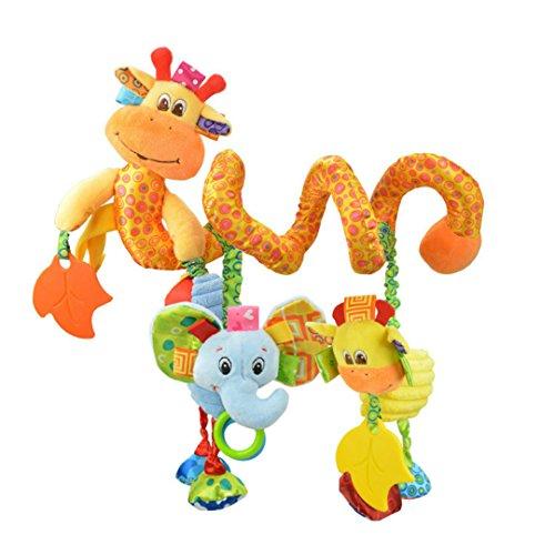 Baby Bed Stroller Cot Decoration Cute Giraffe Elephant Pram Activity Spiral Toys