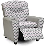 Kidz World Zoom Zoom Bella Storm Kid's Recliner with Cup Holder, Silver Suede