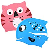 Oumers Kids Swimming Cap [Pack of 2] Silicone Waterproof Swim Cap/Bathing Cap - for Boys/Girls Aged 2-8 Good Effective Ear Protect Hair Dry - Cute Design Cartoon Animal Pattern