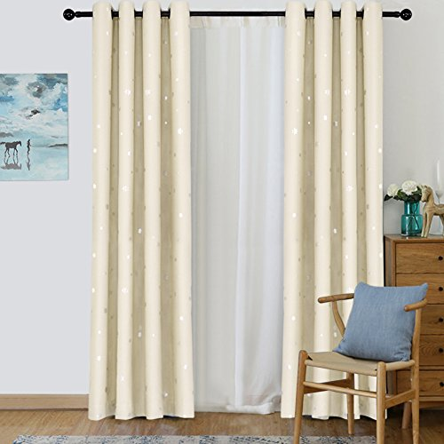 (Jaoul Gilding Snowflakes Blackout Curtains Grommet Thermal Insulated Room Darkening Drapes Bedroom 52W x 96L Inch, 1 Panel (Beige))