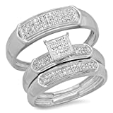 0.30 Carat (ctw) Sterling Silver Round White Diamond Men & Women's Micro Pave Trio Bridal Set 1/3 CT