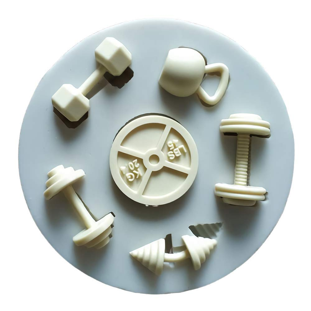 Sports Fitness Workout Exercise Dumbbell Silicone Fondant Mold Sugar Craft Gumpaste Cake Cupcake Decorating Tool Polymer Clay Resin Mold