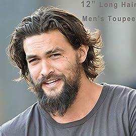 Rossy&Nancy 12″ Long Hair Men's Toupee 100% Virgin Human Hair Replacement System for Men 10″x8″ Base Size Natural Black Color