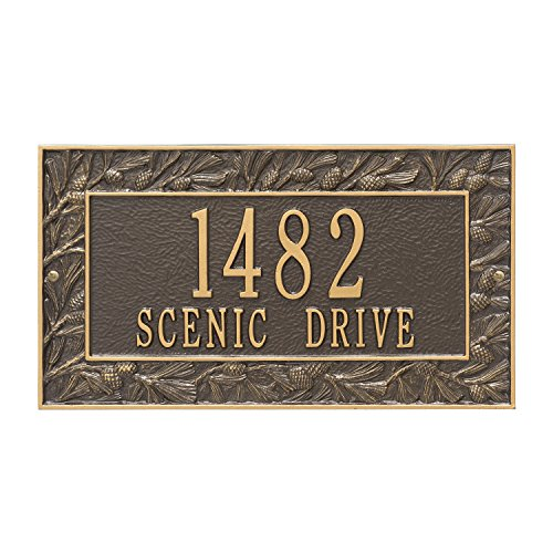 Pinecone Address Plaque - Custom 2 Lines Pinecone WALL Address Plaque 16Wx9H