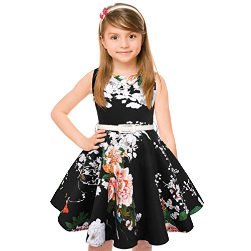 Girls 50s Vintage Swing Rockabilly Retro Sleeveless Party Dress for -