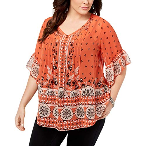 (Style & Co. Womens Plus Printed 3/4 Sleeves Pullover Top Orange 1X)