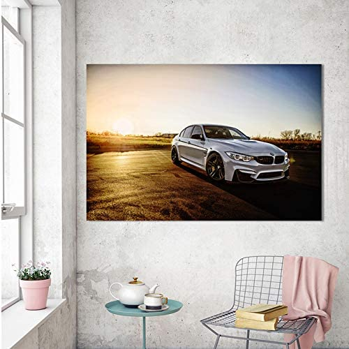 Amazon Com Jljljl Car Posters For Boys Room Canvas Art Wall Decor Supercar M3 White Car Wheels Sunrise Posters And Prints Wall Art Picture Canvas Painting For Living Room Home Decor Posters