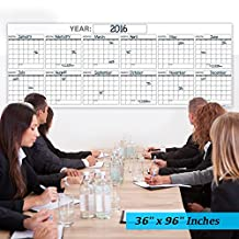 Best EXTRA LARGE 12 MONTH Dry Erase Wall Calendar Planner & Organizer 36x96 in Laminated Dry or Wet Erase Print Squares to Plan Your Whole YEAR Perfect Sales Planning Office Conference Rooms Teachers