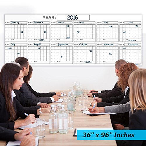 Wall Calendar 36x96-Inch Laminated Dry or Wet Erase Year Planner