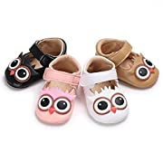 Meckior Infant Baby Boys Girls Soft Sole Shoes PU Moccasin Prewalker Crib Shoes (0-6 Months, A-Pink)