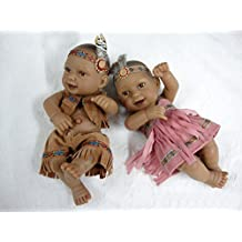 "Terabithia Mini 11"" Alive Newborn Baby Dolls Collectible Native American Indian Twins"