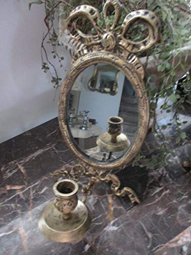 (WALL Mirror/Candle Holder, Distressed Gold, Vintage, Wall Decor, Wall Sconce, Brass/Metal, Baroque, French, Ornate Design, Wall Hanging, Classic Wall Gallery)