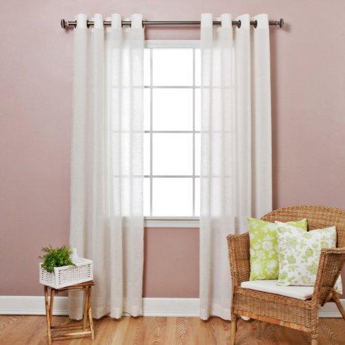 Best Home Fashion Natural Flax Faux Linen Curtains – Antique Bronze Grommet Top – Natural Flax – 52″W x 84″L – (Set of 2 Panels)