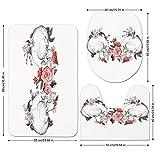 3 Piece Bathroom Mat Set,Gothic-Decor,Roses-and-Skull-Feast-of-All-Saints-Catholic-Tradition-Illustration-Art-Print,.jpg,Bath Mat,Bathroom Carpet Rug,Non-Slip