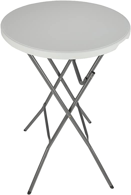 Palm Springs 2.7FT Round White Plastic 3.5FT High Folding Bar Table with Cover