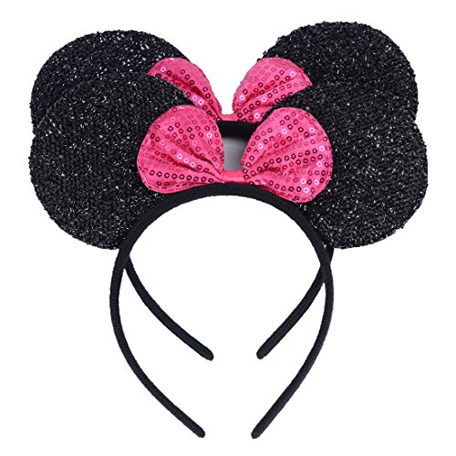 Set of 2 Mickey Minnie Mouse Ears Headband Boys Girls Birthday Party Mom Hairs Accessories Baby Shower Headwear Halloween Party Decorations Glitter Sequin Ears with Rose Bow (Black Sequin Rose)