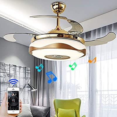 "A Million 36"" Modern Ceiling Fan Light with Smart Bluetooth Music Player Chandelier Retractable Blades Remote Control Three Speeds Three Color Changes Pendant LED Light Kit include"