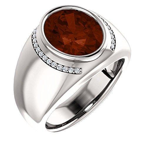 14K White Gold Mozambique Garnet & 1/8 CTW Diamond Ring (Size 10)