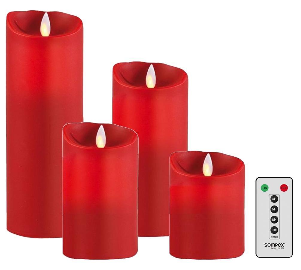 Sompex 4er Set Flame LED Echtwachskerzen rot 10/12,5/18/23cm mit Fernbedienung