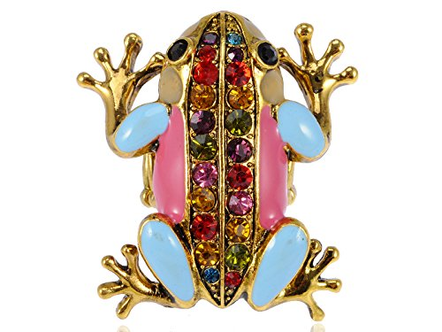 Alilang Womens Adjustable Stretchy Golden Tone Multicolored Rhinestone Colorful Frog Ring Designer Multi Colored Ring