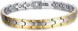 VNOX 7mm Mens Womens Stainless Steel 2 Gold Line 4 in 1 Magnetic Healing Bracelets,Silver Gold,21cm Vnox Jewelry SBRM-044