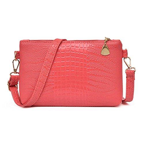 Handbag Crocodile Pattern Tote (YJYdada Women Fashion Handbag Crocodile Pattern Shoulder Bag Small Tote Ladies Purse (Watermelon Red))