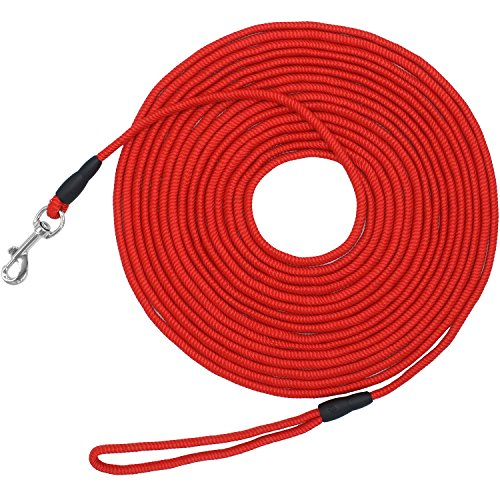 Vcalabashor Long Dog Puppy Obedience Recall Training Agility Rope Leash/Small Dog Check Cord/Young Dog Tracking Leads/Highly Visible and Floats/Red - 30ft by Vcalabashor