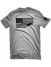 American Flag Jeep Shirt Ash Gray Made in USA offroad t-shirt