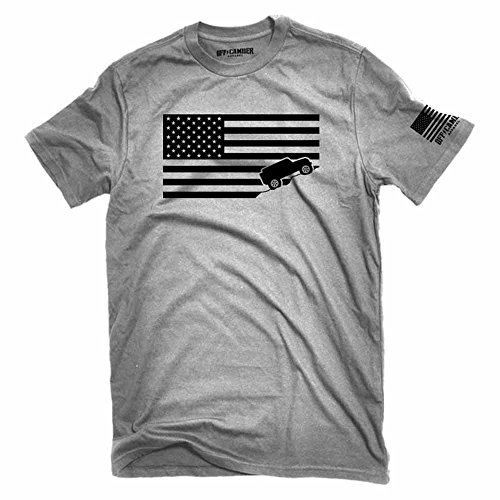 American Flag Jeep Shirt Ash Gray Made in USA offroad t-shirt (Large)