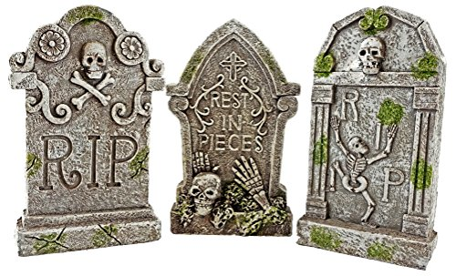 SJL Company Rest in Peace Halloween Skeleton Tombstones Set of 3 (Set Tombstone)