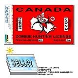 Canada Canadian Zombie Hunting License Permit Red - Biohazard Response Team SLAP-STICKZ(TM) Automotive Car Window Locker Bumper Sticker